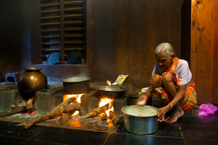 Anasuya in a kitchen of a temple