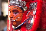 A closeup of Theyyam makeup which takes hrs to finish